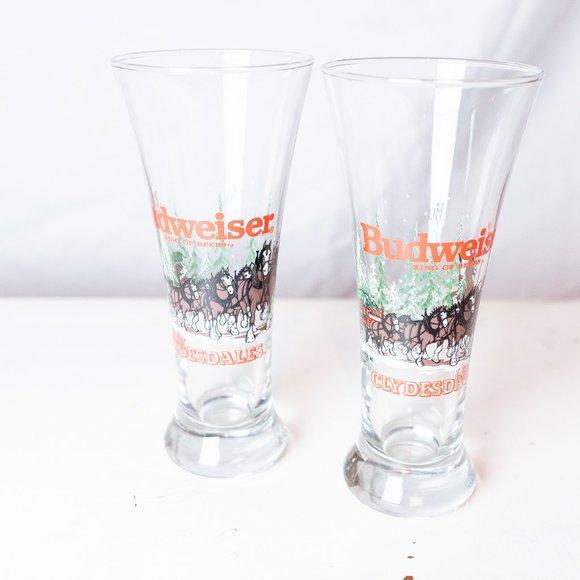 Vintage Budweiser Clydesdale Pilsner Glasses (2)